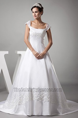 Celebrity Inspired Cap Sleeves A-Line Embroidery Wedding Dress