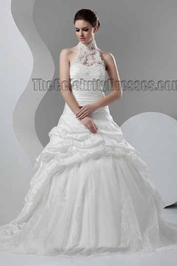 Celebrity Inspired Chapel Train Halter A-Line Wedding Dresses