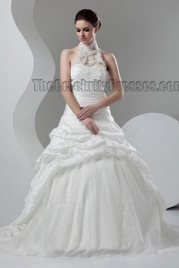 Celebrity Inspired Chapel Train Halter A-Line Wedding Dresses
