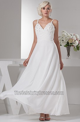 Celebrity Inspired Chiffon Beaded Spaghetti Straps Wedding Dress