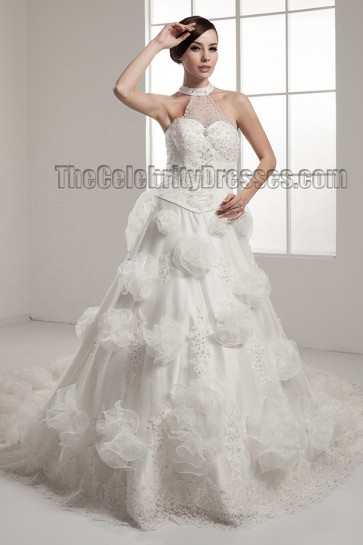 Celebrity Inspired Court Train A-Line Wedding Dresses