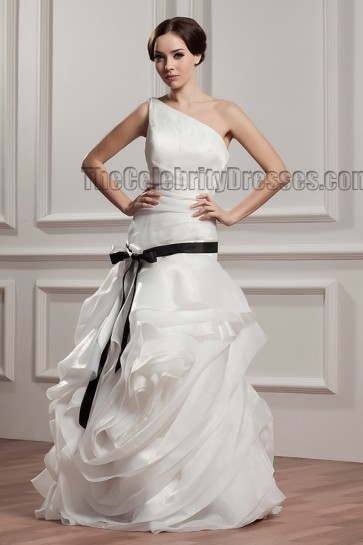 Celebrity Inspired Floor Length One Shoulder Wedding Dress