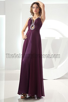 Celebrity Inspired Grape Chiffon Prom Dress Evening Dresses