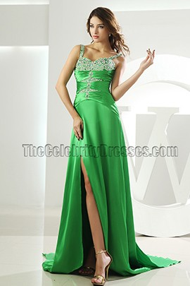 Celebrity Inspired Green Evening Dresses Prom Dress With Beading