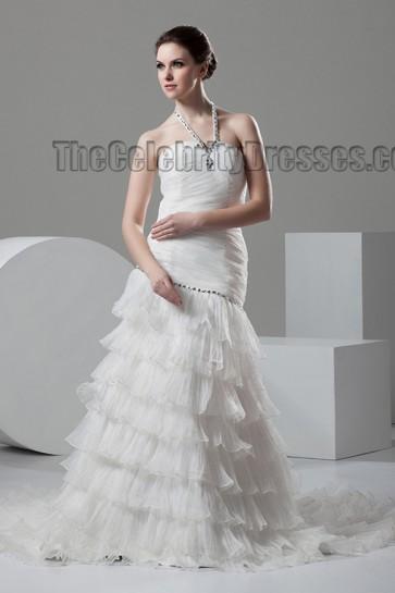 Celebrity Inspired Halter A-Line Ruffles Wedding Dresses