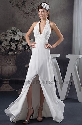 Celebrity Inspired Sheath/ Column Halter Wedding Dresses