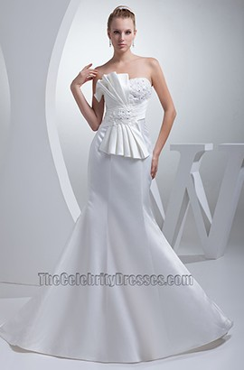 Celebrity Inspired Trumpet /Mermaid Strapless Wedding Dress