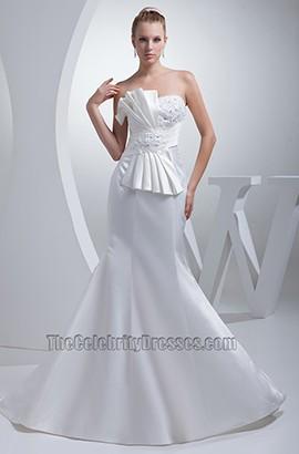 Celebrity Inspired Trumpet /Mermaid Strapless Wedding Dress