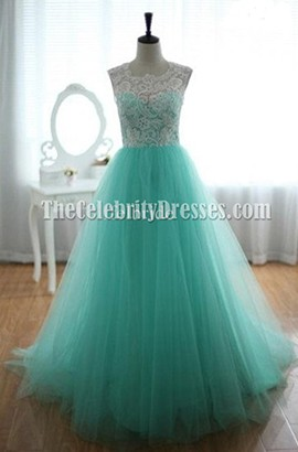 Celebrity Inspired Mint A-Line Prom Gonw Evening Dress