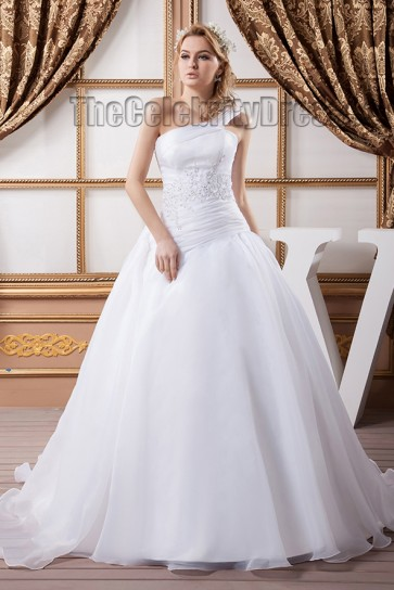 Celebrity Inspired One Shoulder A-Line Beaded Wedding Dresses