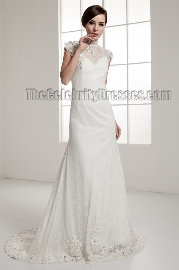 Celebrity Inspired Open Back Lace Chapel Train Wedding Dress