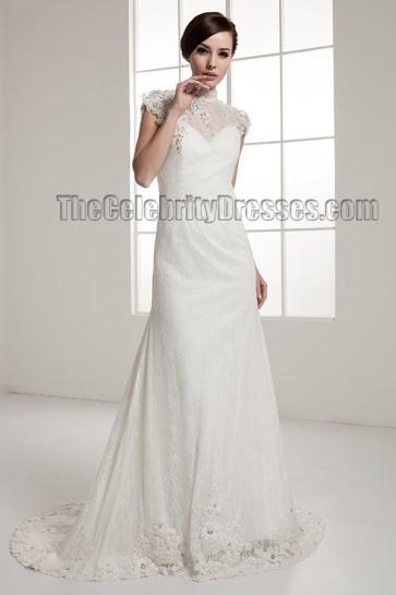 Celebrity Inspired Open Back Lace Chapel Train Wedding Dress