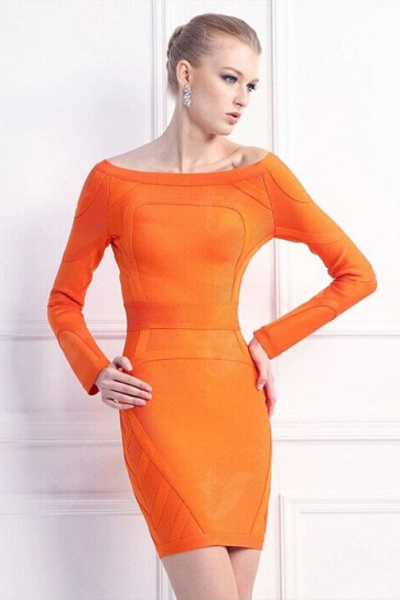 Celebrity Inspired Orange Bandage Long Sleeve Cocktail Dresses TCD5902