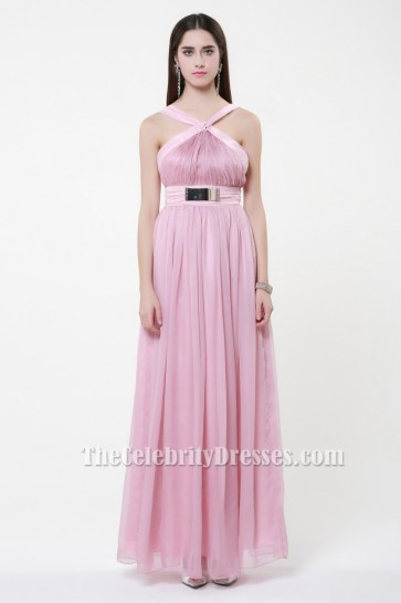 Celebrity Inspired Pink Backless Prom Gown Evening Dresses TCDBF028
