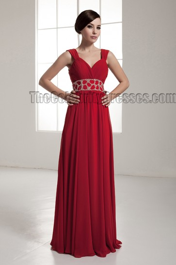 Celebrity Inspired Red Backless Evening Dress Prom Gown