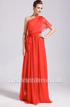 Celebrity Inspired Red One Shoulder Prom Bridesmaid Dresses
