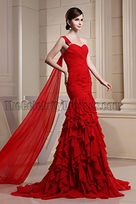 Celebrity Inspired Red One Shoulder Formal Dress Evening Dresses