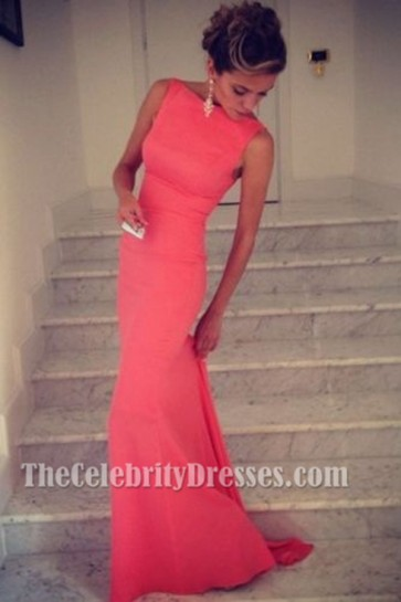 Celebrity Inspired Sleeveless Prom Dress Evening Gown