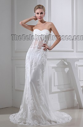Celebrity Inspired Sheath/Column Lace Sweetheart Wedding Dress Bridal Gown
