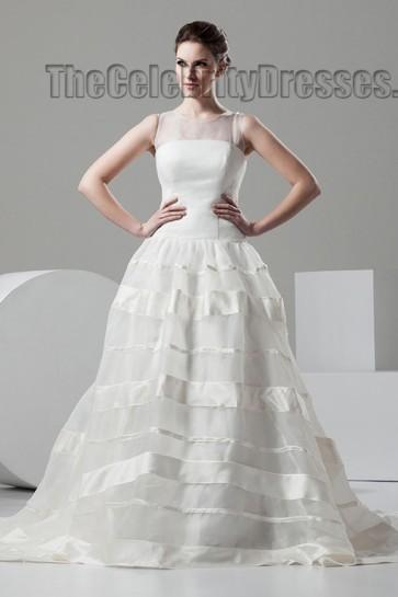 Celebrity Inspired Sleeveless Chapel Train A-Line Wedding Dresses
