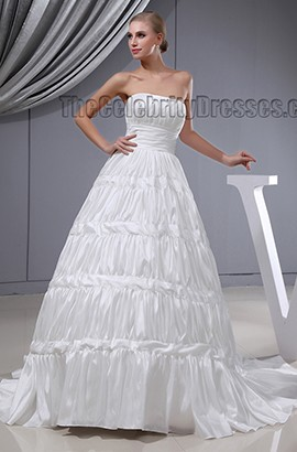 Celebrity Inspired Strapless A-Line Ruffles Chapel Train Wedding Dress