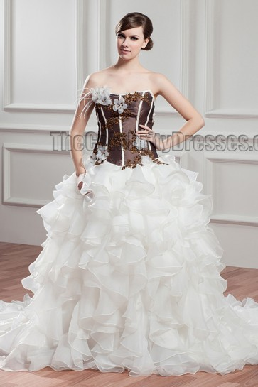 Celebrity Inspired Strapless A-Line Ruffles Wedding Dresses