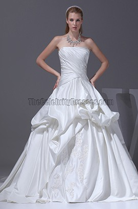 Celebrity Inspired Strapless Taffeta Wedding Dresses