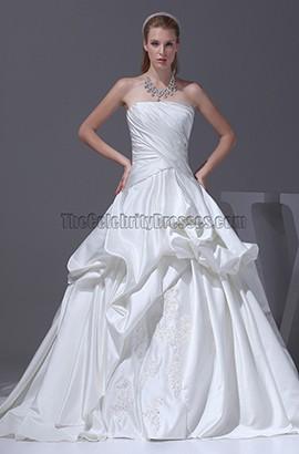 Celebrity Inspired Strapless Taffeta Wedding Dresses