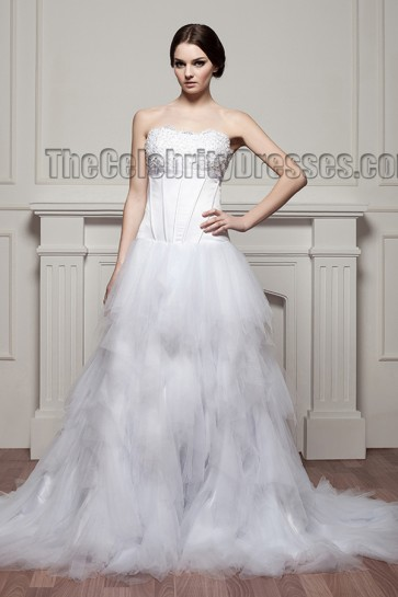 Celebrity Inspired Strapless A-Line Tulle Wedding Dresses