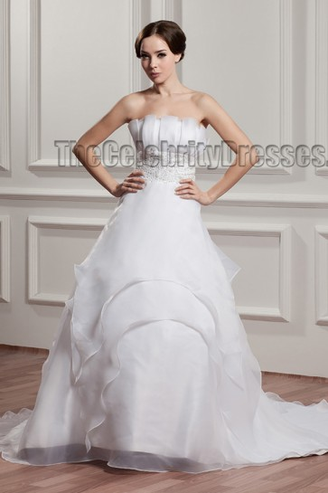 Celebrity Inspired Strapless Beaded A-Line Wedding Dresses