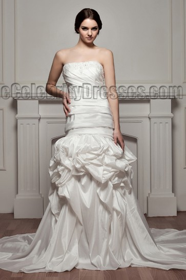 Celebrity Inspired Strapless Beaded Taffeta Wedding Dresses