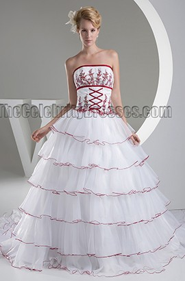 Celebrity Inspired Strapless Chapel Train Lace Up Embroidered Wedding Dress