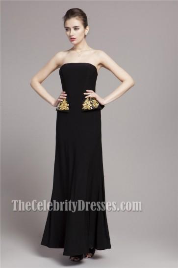 Celebrity Inspired Black Strapless Formal Evening Dresses
