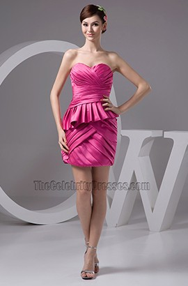 Celebrity Inspired Strapless Fuchsia Cocktail Party Dresses