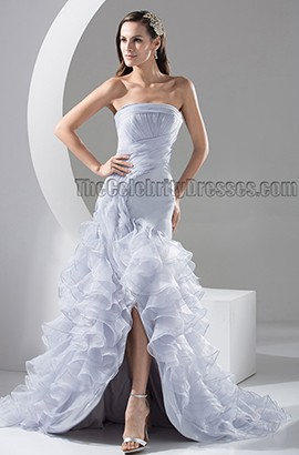 Celebrity Inspired Strapless Trumpet /Mermaid Organza Wedding Dress