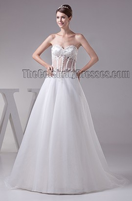 Celebrity Inspired Sweetheart Strapless See Through A-Line Wedding Dress