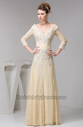 Celebrity Inspired V-Neck Beaded Formal Dress Evening Gown