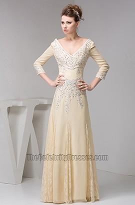 Celebrity Inspired V-Neck Beaded Formal Dress Evening Gown