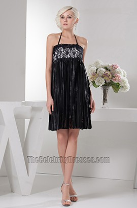 Celebrity Inspired Short Halter Black Halter Party Cocktail Dresses