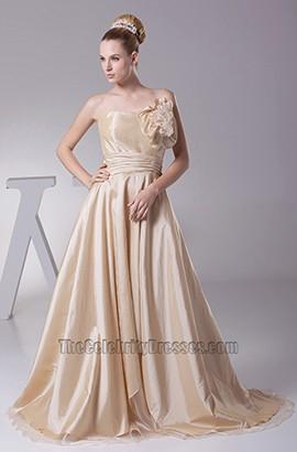 Champagne Strapless Taffeta A-Line Wedding Dresses