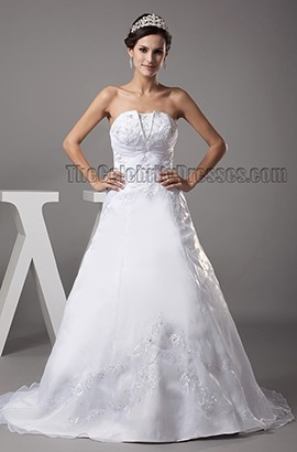 Chapel Train A-Line Strapless Emboridery Lace Up Wedding Dress