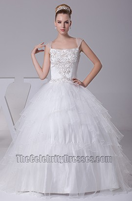 Chapel Train Ball Gown Embroidery Organza Wedding Dresses