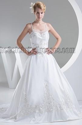 Chapel Train Embroidered Spaghetti Straps A-Line Beaded Wedding Dress