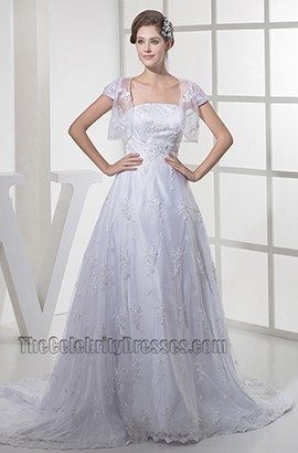 Chapel Train Lace Strapless A-Line Wedding Dress With A Wrap