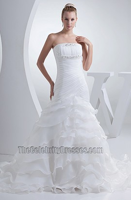 Chapel Train Strapless A-Line Ruffles Organza Wedding Dress