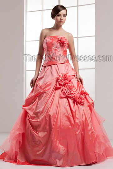 Chapel Train Taffeta Strapless A-Line Wedding Dress