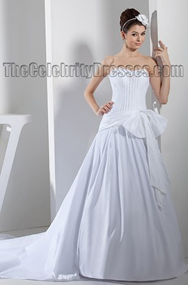 Chapel Train Strapless Beaded Taffeta A-Line Wedding Dresses