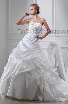 Chapel Train Strapless Sweetheart A-Line Ruffles Wedding Dresses