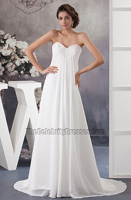 Chapel Train Strapless Sweetheart Chiffon A-Line Wedding Dress