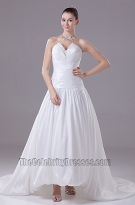 Chapel Train Strapless Taffeta A-Line Wedding Dresses